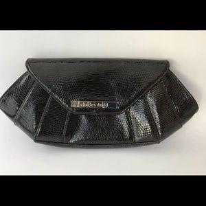 Charles David Black Leather Clutch Evening Bag